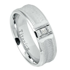 Men's 7mm Titanium Wedding Band White Engagement Ring Square Cubic Zirconia CZs