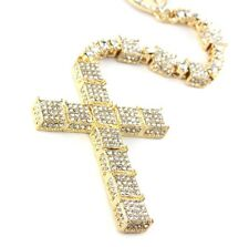 Luxurious 3D Iced Out 14K Simulated Diamond Jesus Rosary Chain Necklace Hip Hop
