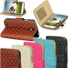 Leather Quilted Magnetic Wallet Flip Stand Case Cover For Various Phone Models