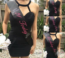 21st Birthday Sash Black w/ Pink Text Happy Birthday Today Girl Party Rhinestone