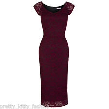 PRETTY KITTY 40s UK WINE RED LACE WIGGLE PENCIL VINTAGE COCKTAIL DRESS 8-18
