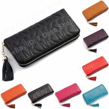 Real Genuine Leather Women Long Zip Wallet Phone Credit Card Holder Purse Clutch