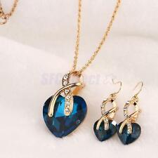 Wedding Bridal Gold Plated Heart Zircon Rhinestone Necklace Earrings Jewelry Set
