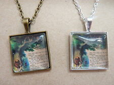Alice in Wonderland Cheshire Cat Bronze / Silver Plated Necklace New in Gift Bag