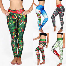 Womens 3D Printed Christmas Xmas Leggings Stretch Skinny Pants Trousers Costume