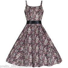 50s Cocktail Party Cotton Autumn Floral Strappy Rockabilly Swing 50s Dress 8-18
