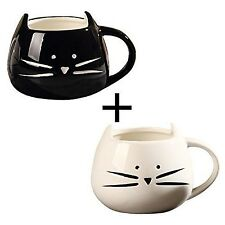 OliaDesign Black & White Cat Coffee Ceramic Mugs Set of 2 New