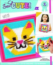 Colorbok Cat Learn To Sew Needlepoint Kit 6-Inch by 6-Inch Pink Frame New