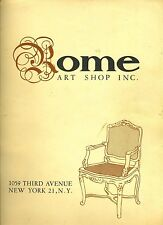 Rome Art Shop Furniture Catalog 1950's New York Hand Carved Furniture from Italy
