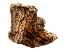 WOMENS DUNLOP LEOPARD PRINT FAUX FUR LINED BOOTIES SLIPPERS BOOTS LADIES SIZE