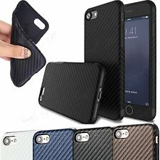 Shockproof Carbon Fiber Pattern Gel TPU Back Case Cover For Apple iPhone 7  4.7""