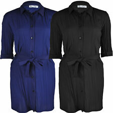 Womens Ladies Buttoned Tie Belted Pleated Ruffle Shirt Dress Long Half Sleeve