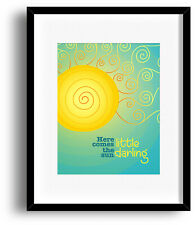 "The Beatles Lyrics Art Poster ""Here Comes the Sun"" Song Lyric Artwork Print"