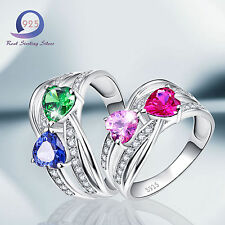 Merthus 2-Heart Ruby&Emerald&Sapphire 100% 925 Sterling Silver Ring Size 6 7 8 9