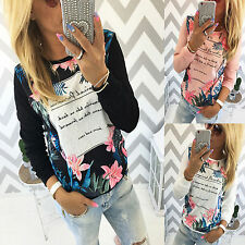 2016 Ladies Casual Floral Printed Shirt Long Sleeve Cotton Blouse Tops T-Shirts