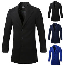 Men's Wool Blends Long Trench Coat Winter Jacket Single Breasted Overcoat Tops
