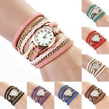 Fashion Women's Weave Wrap Around Leather Chain Bracelet Quartz Wrist Watch