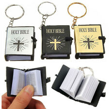 2x Mini English HOLY BIBLE Keychains Religious Christian Jesus Cross Keyrings CN