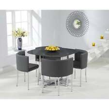 Eton modern grey glass stowaway dining set with 4 PU leather chairs (6 colours)