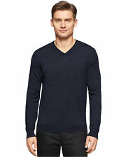 New NWT Calvin Klein Extra Fine Merino Wool V-Neck Sweater Sz M Color Blue
