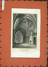 Antique Print 1809 Cloisters Chapter House Westminster Abbey London 102E137