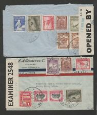 Ecuador 1941 lot of 2 censored airmail covers to USA