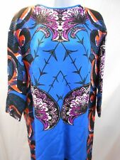 Etro Silk Shift Dress Crop Sleeve Abstract Floral Blue Size 44/14 NWT!! $1225