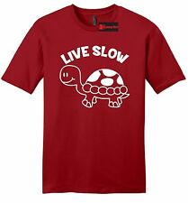 Live Slow Mens Soft T Shirt Funny Turtle Lover Animal Holiday Gift Tee Z2
