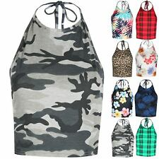Ladies Halter High Neck Womens Army Floral Cami Strappy Crop Top Low Back Bralet