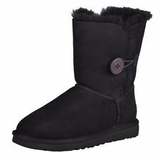 UGG Ws Bailey Button Black Boots Winter Boots Boat Shoes 5803 W/BLK