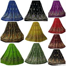 Ladies Indian Party Boho Gypsy Hippie Long Sequin Skirt Rayon variety of colours