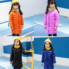 Kids Girls Duck Down Puffer Jacket Ultralight Hooded Long Parka Coat Outerwear
