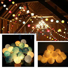 CONNECTABLE COTTON BALL LED FAIRY STRING LIGHTS PARTY PATIO WEDDING XMAS DECOR