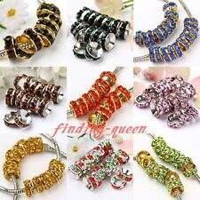 20x Rondelle Crystal Golden Silver Plate European Spacer Bead Fit Charm Bracelet