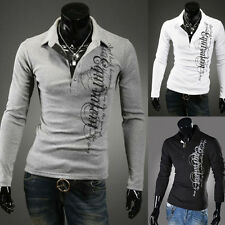 New Men Long Sleeve Stand Collar Slim Fit Cotton Casual Shirts Button T-Shirts