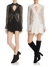 New Free People Hollywood star Secret tell tale lace sexy sweater tunic dress