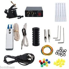 New Tattoo Machine Kit 8 Wrap Coils Gun Ink Needles Power Supply 1 Tattoo Ink