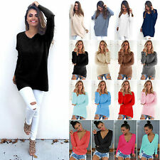 Womens Long Sleeve Baggy Loose Sweater Pullover Ladies Jumper Tops Shirt Blouse