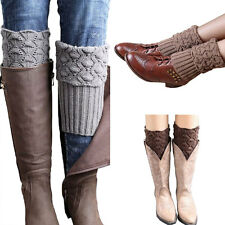 Women Ladies Crochet Knitted Shell Design Boot Cuffs Toppers Knit Legging Warmer