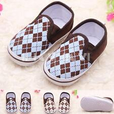 Baby Boy Girl Infant Plaid Prewalker Trainers Sneakers Crib Anti-slip Pram Shoes