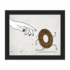Click Wall Art The Chase for Chocolate Donut Framed Painting Print on Canvas