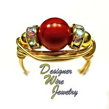 Red Jasper Gemstone Solitaire Artisan Gold Tone Wire Wrap Ring All Sizes