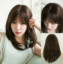 Women's Medium Straight Natural Full Wig Synthetic Hair Cosplay Party Fashion