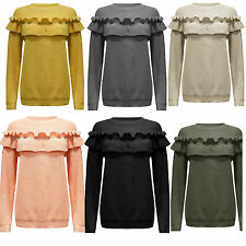 LADIES WOMENS FRILL DETAIL RUFFLE TOP CHUNKY KNITTED JUMPER TOP UK 8-14