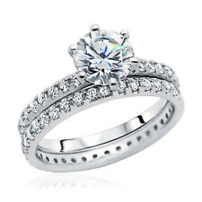 8mm Rhodium Plated Sterling Silver Wedding Ring CZ Engagement Bridal Set Band