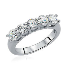 3.5mm Rhodium Plated Sterling Silver Wedding Ring CZ Five Stone Anniversary Band