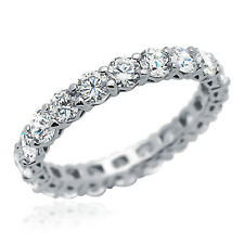 3.3mm Rhodium Plated Silver Wedding Ring CZ Eternity Engagement Band set