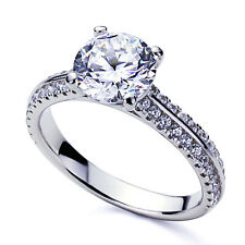 3.5mm Platinum Plated Silver 2ct Round CZ Solitaire Wedding Engagement Ring set