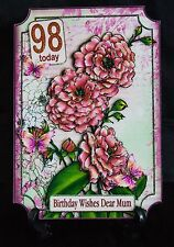 PERSONALISED FEMALE FLORAL PINK ROSES BIRTHDAY/AGE/NAME GREETING CARD