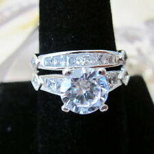 Exquiste Silver Platinum Plated CZ Stone Italian Micro Paved 2 Ring sz 5-9
